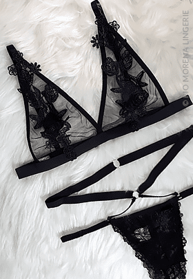 Lingerie Sensual Cloe bordada - Preto fio morena jf